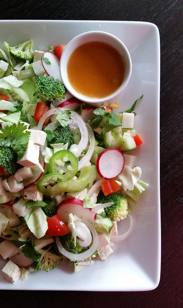 chopped salad with satay